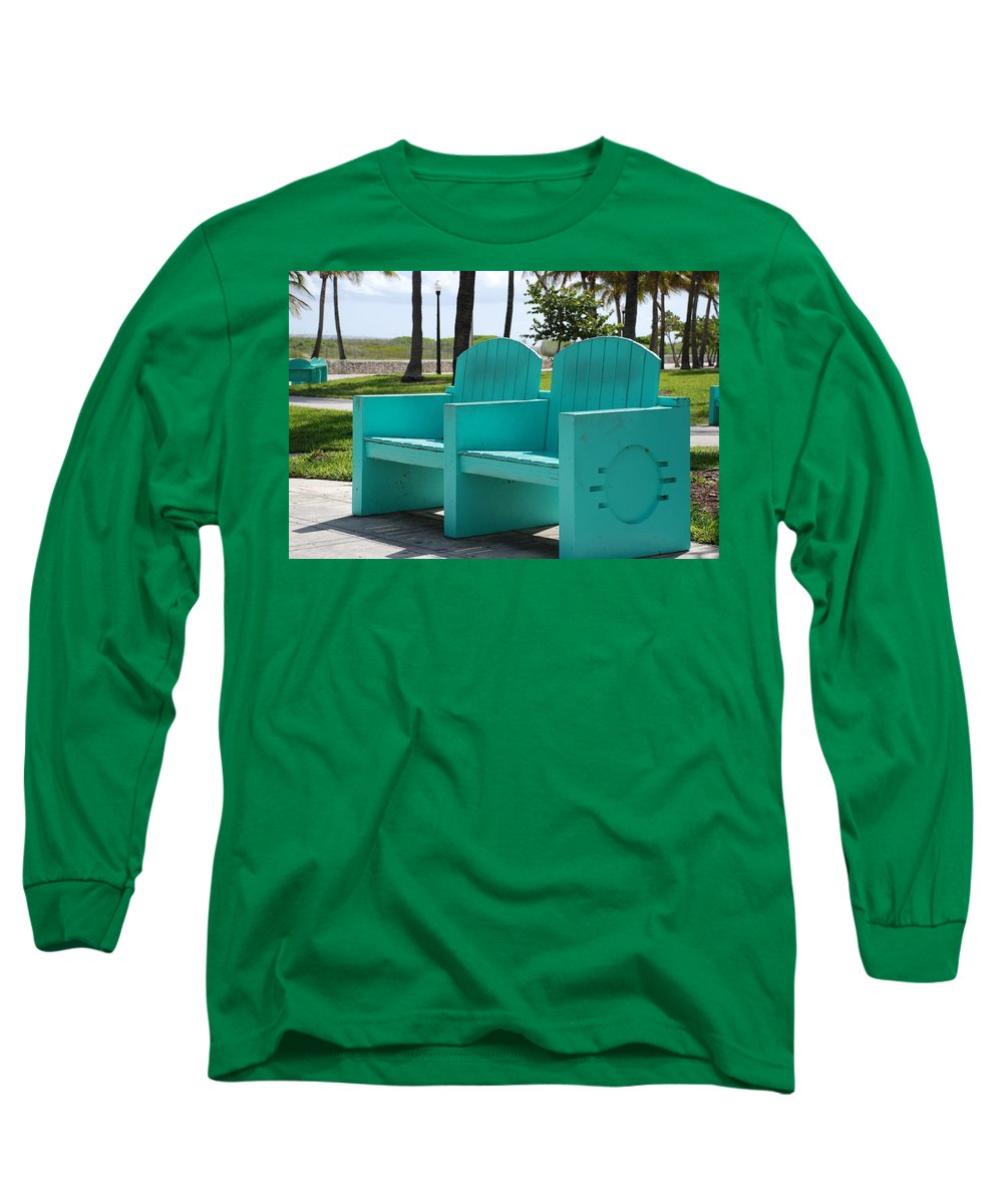 Art Deco Long Sleeve T-Shirt featuring the photograph South Beach Bench by Rob Hans