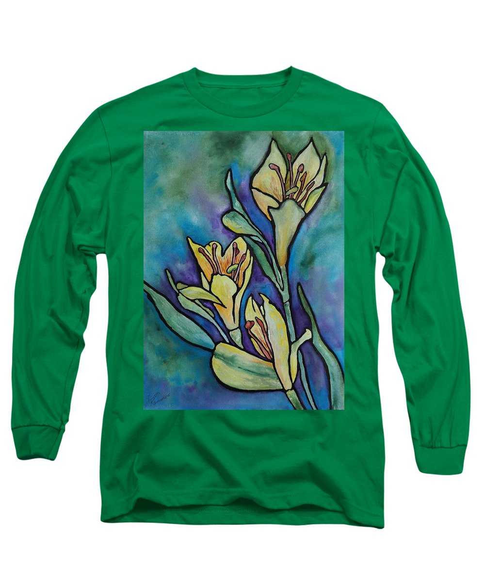 Flowers Long Sleeve T-Shirt featuring the painting Stained Glass Flowers by Ruth Kamenev