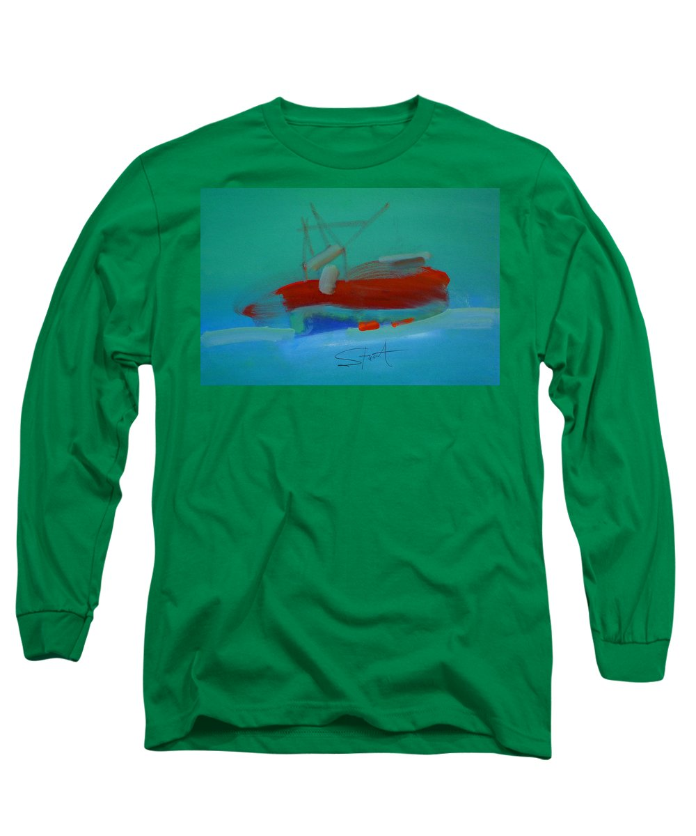 Fishing Boat Long Sleeve T-Shirt featuring the painting Trawler by Charles Stuart