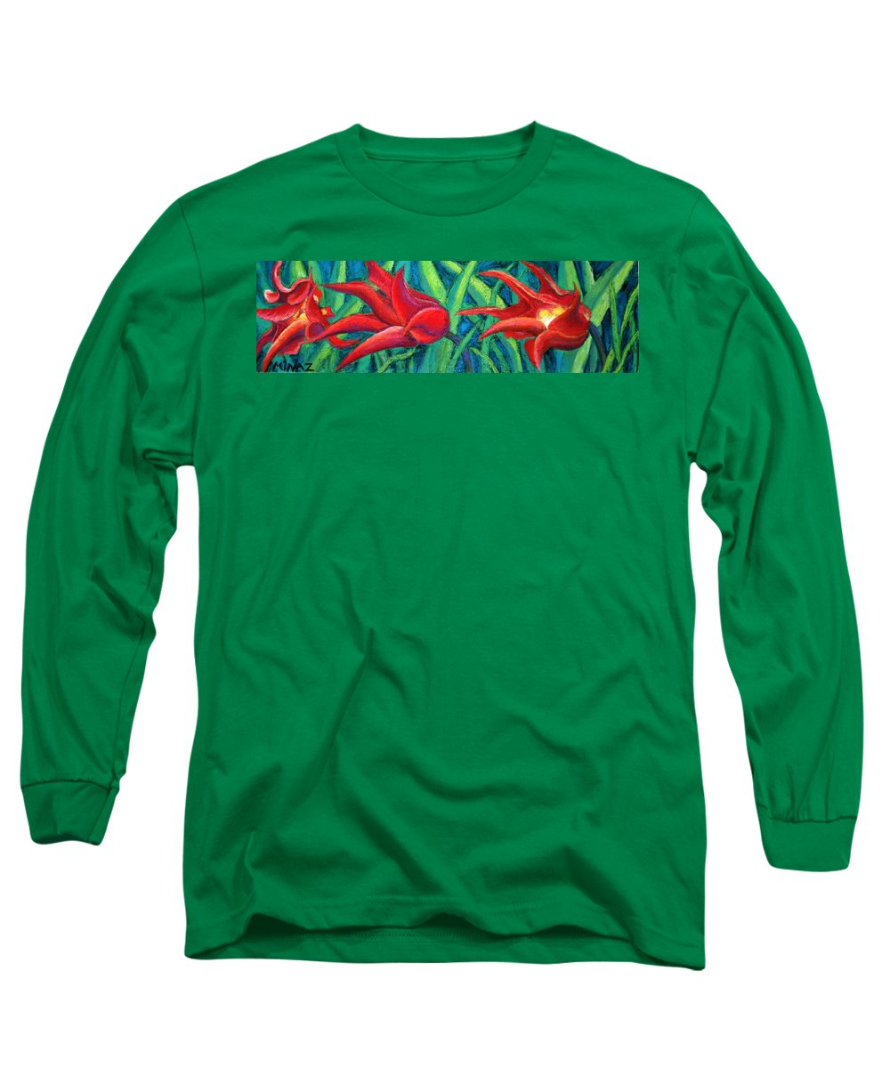 Tulips Long Sleeve T-Shirt featuring the painting Triple Tease Tulips by Minaz Jantz