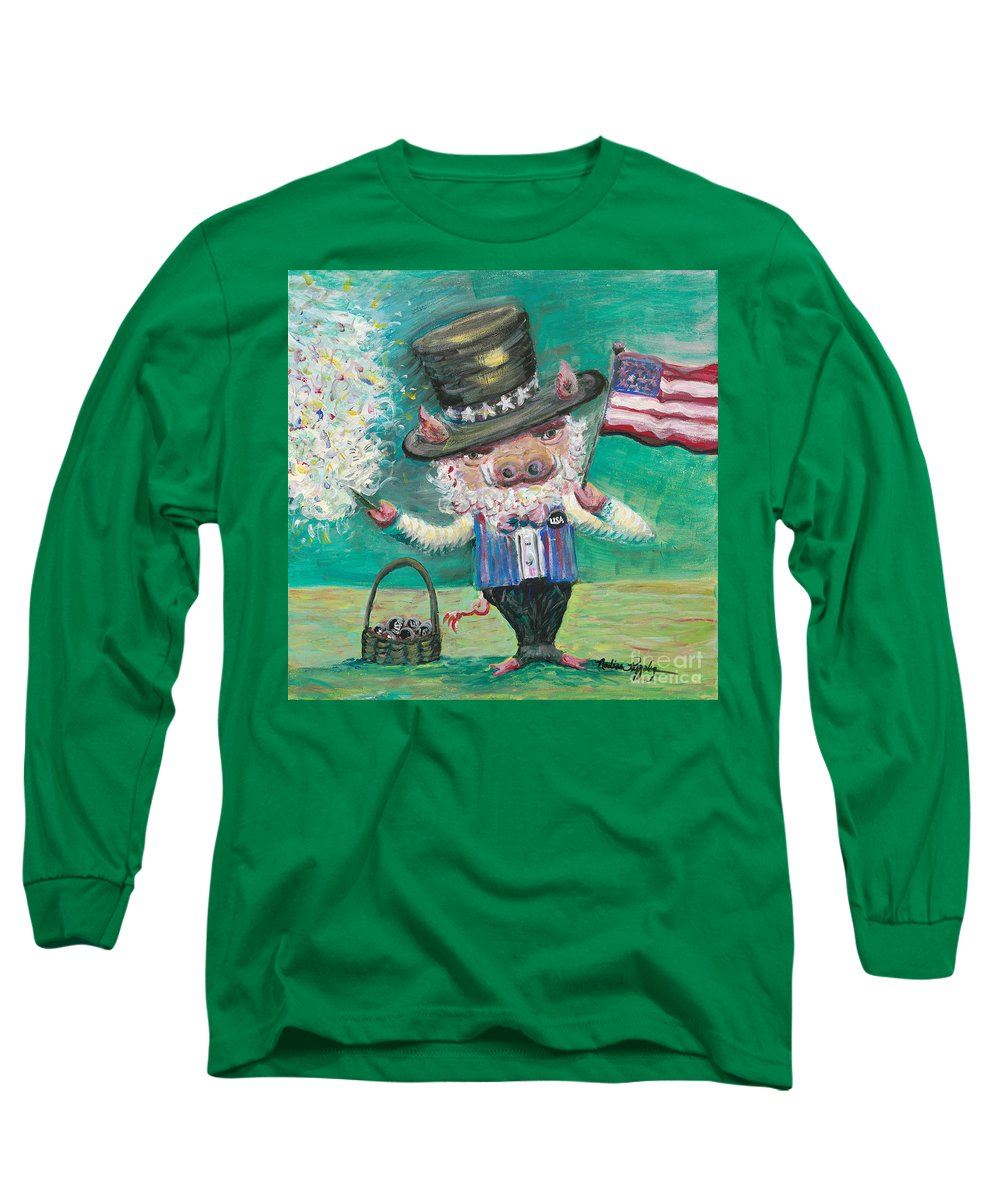 Fourth Of July Long Sleeve T-Shirt featuring the painting Uncle Spam by Nadine Rippelmeyer