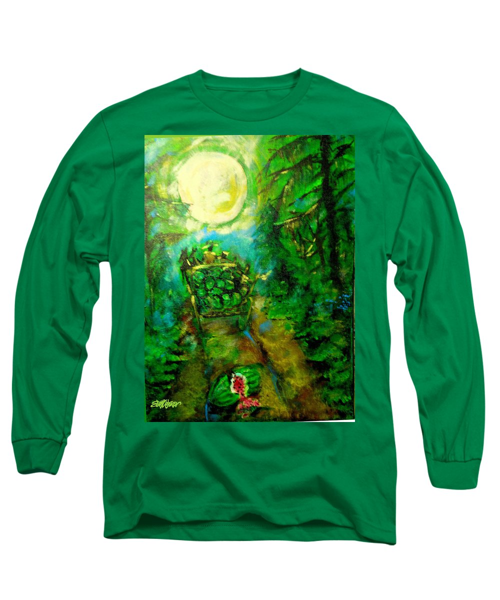 Watermelon Wagon Moon Long Sleeve T-Shirt featuring the painting Watermelon Wagon Moon by Seth Weaver