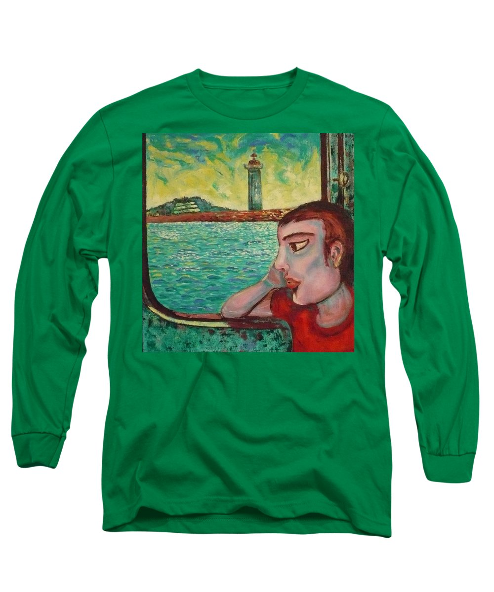 Window Long Sleeve T-Shirt featuring the painting Young Man In A Window by Ericka Herazo
