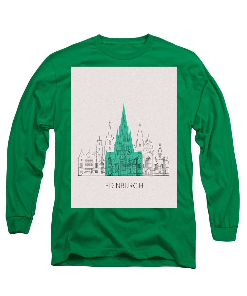Edinburgh Long Sleeve T-Shirt featuring the digital art Edinburgh Landmarks by Inspirowl Design
