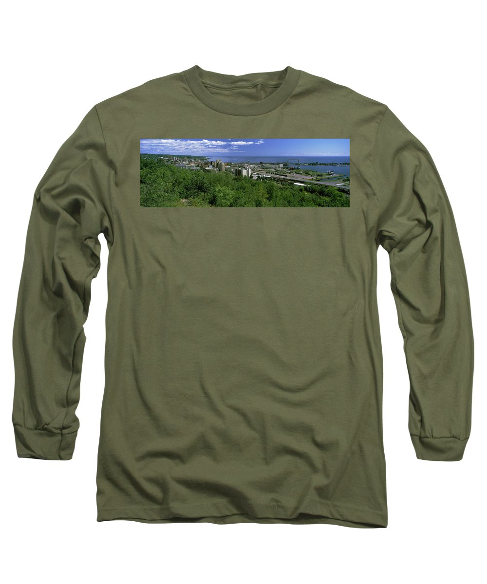 Photography Long Sleeve T-Shirt featuring the photograph City At The Waterfront, Lake Superior by Panoramic Images