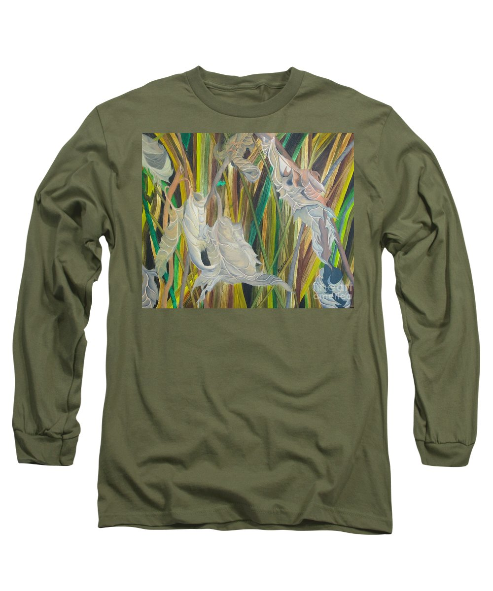 Long Sleeve T-Shirt featuring the painting Fall Leafs Won by Richard Dotson