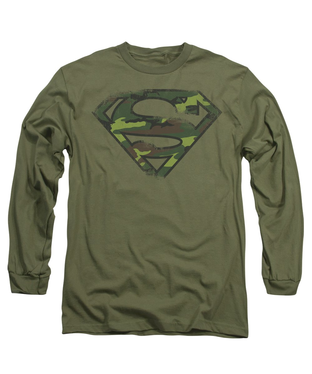 Superman Long Sleeve T-Shirt featuring the digital art Superman - Distressed Camo Shield by Brand A