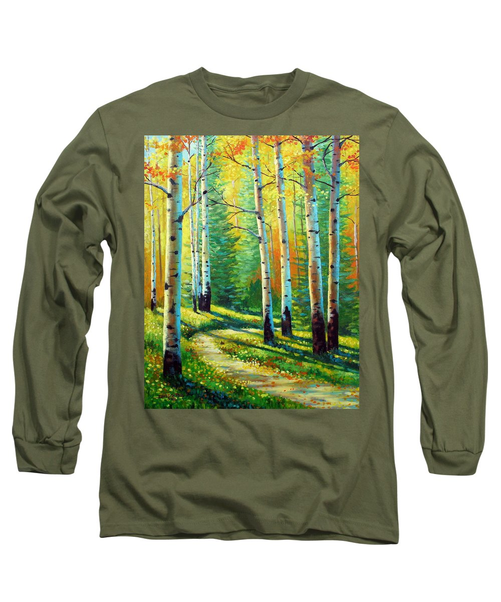 Landscape Long Sleeve T-Shirt featuring the painting Colors Of The Season by David G Paul