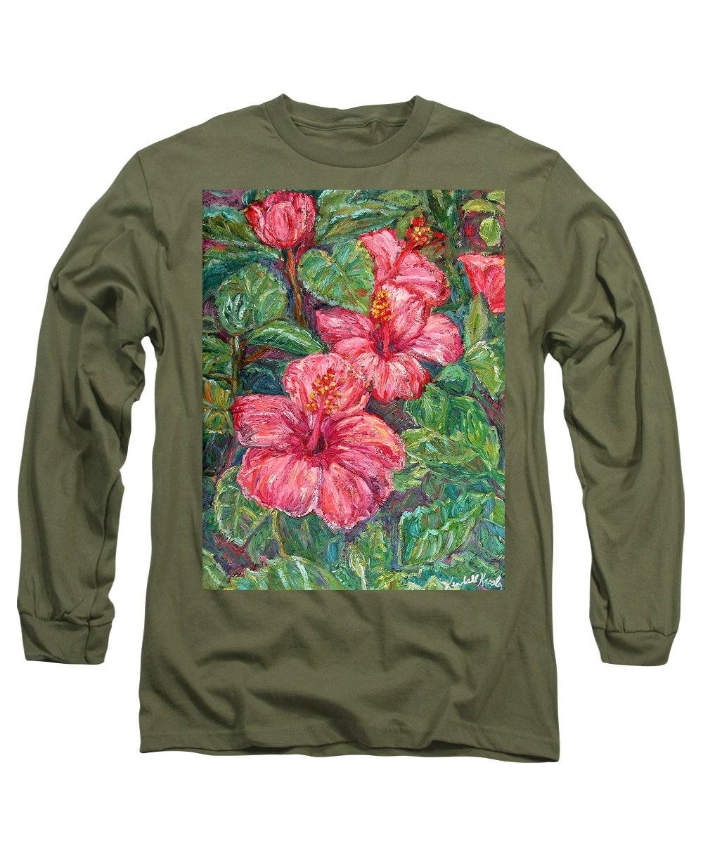 Hibiscus Long Sleeve T-Shirt featuring the painting Hibiscus by Kendall Kessler