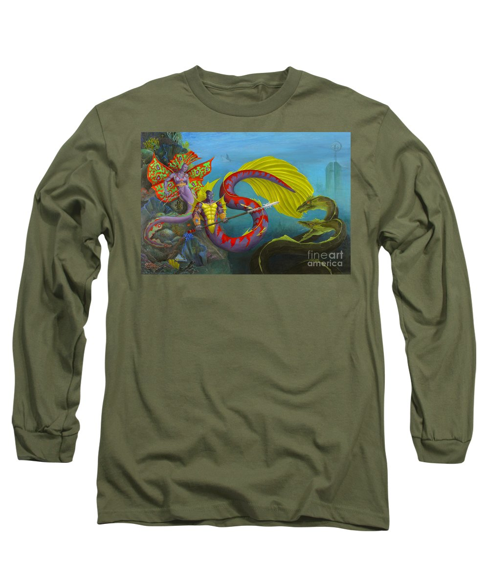 Mermaid Long Sleeve T-Shirt featuring the painting The Threat by Melissa A Benson