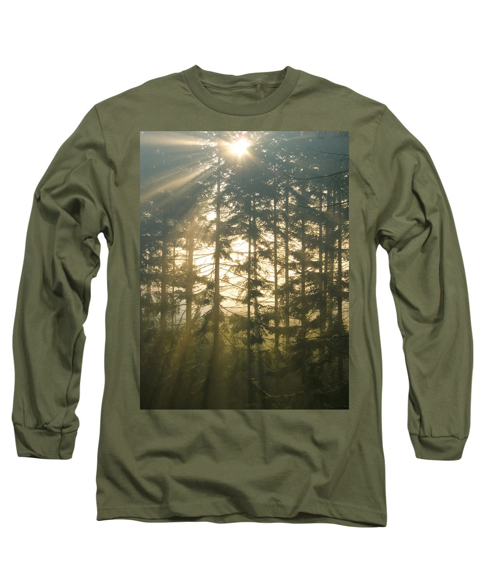 Nature Long Sleeve T-Shirt featuring the photograph Light In The Forest by Daniel Csoka