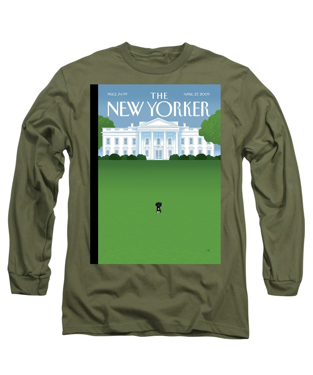 Obama Long Sleeve T-Shirt featuring the painting New Yorker April 27th, 2009 by Bob Staake