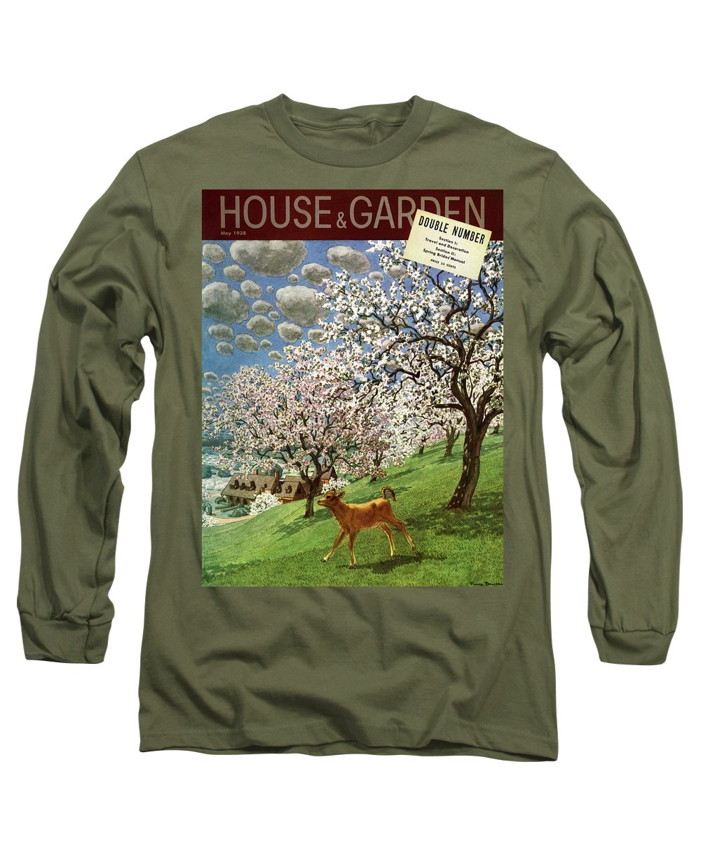 Illustration Long Sleeve T-Shirt featuring the photograph A House And Garden Cover Of A Calf by Pierre Brissaud