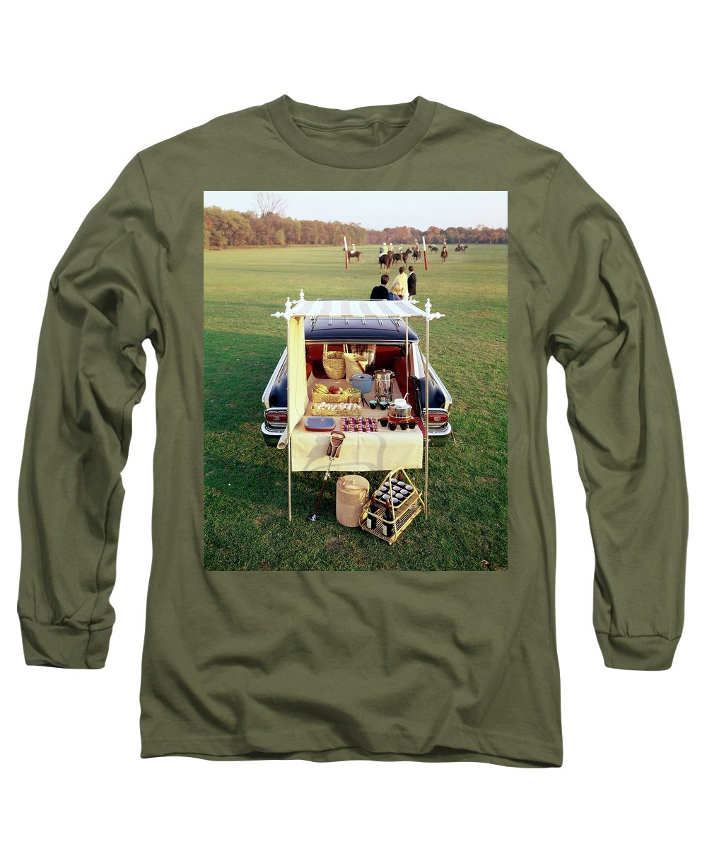 Food Long Sleeve T-Shirt featuring the photograph A Picnic Table Set Up On The Back Of A Car by Rudy Muller