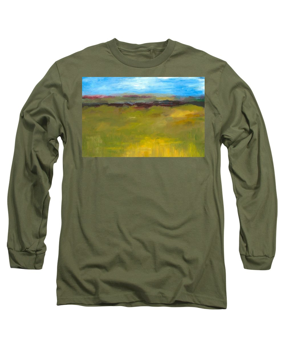 Abstract Expressionism Long Sleeve T-Shirt featuring the painting Abstract Landscape - The Highway Series by Michelle Calkins