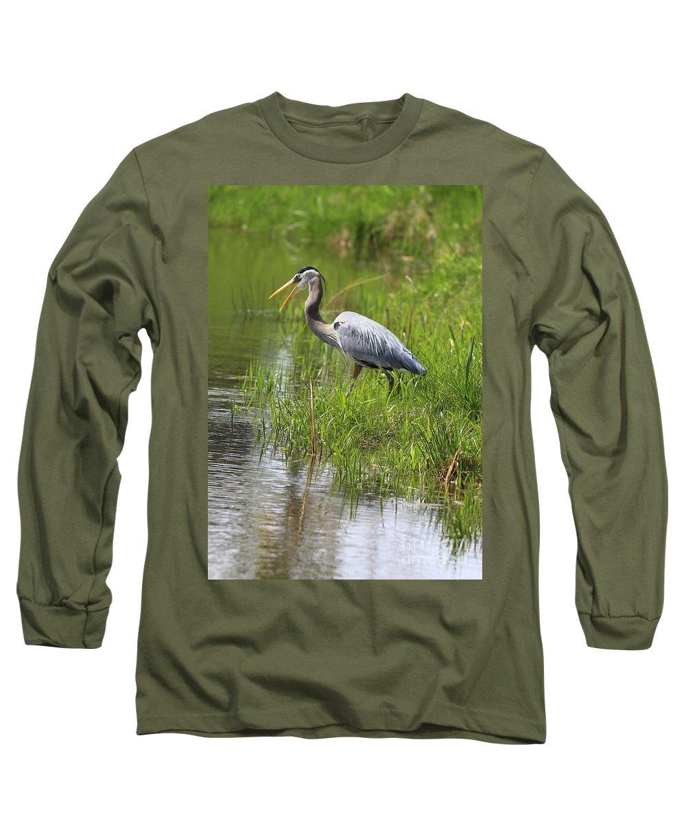 Bird Long Sleeve T-Shirt featuring the photograph Ah That Tastes Good by Deborah Benoit