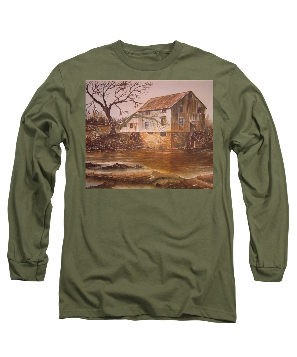 Landscape Long Sleeve T-Shirt featuring the painting Anderson Mill by Ben Kiger