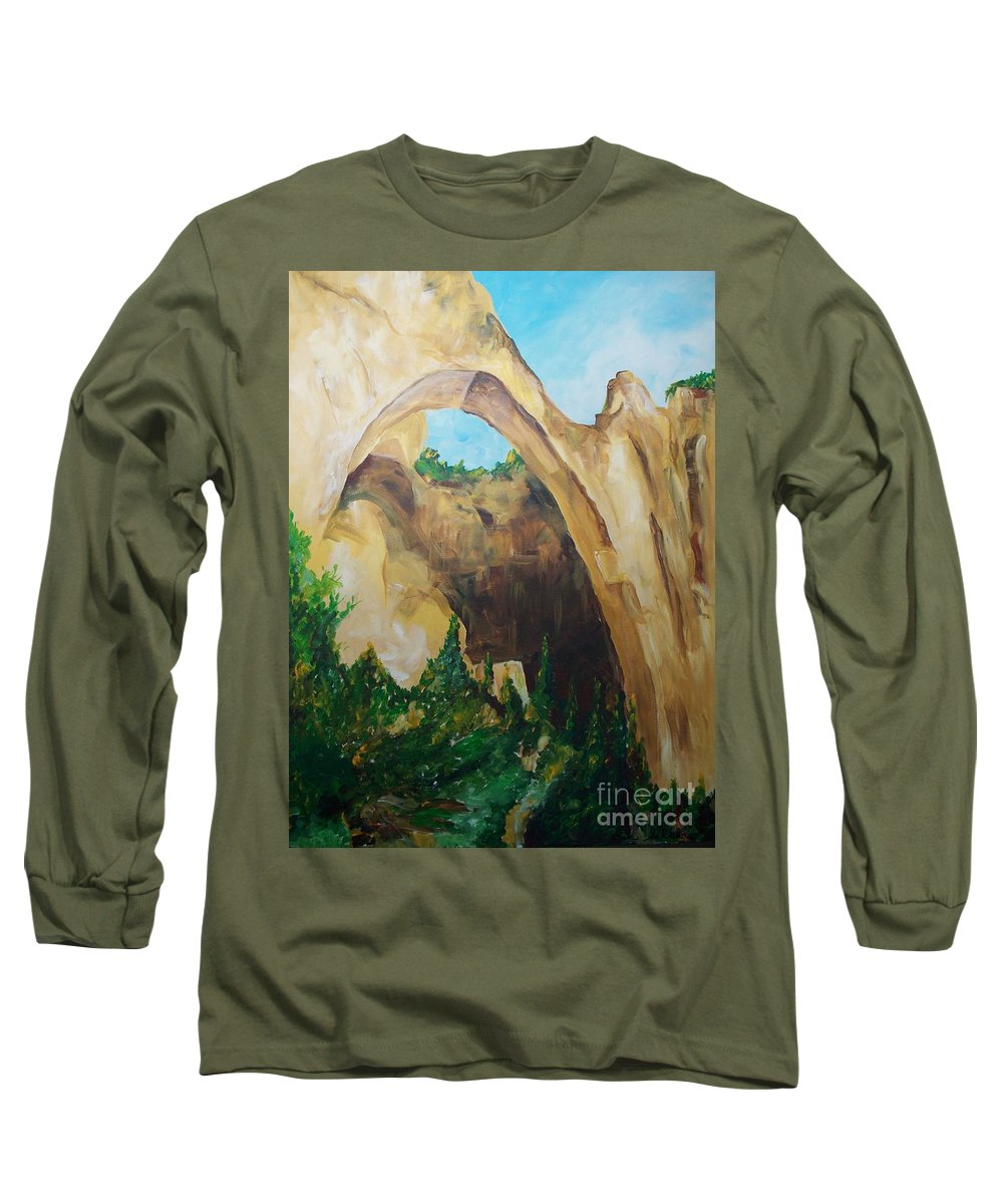 Floral Long Sleeve T-Shirt featuring the painting Arch by Eric Schiabor