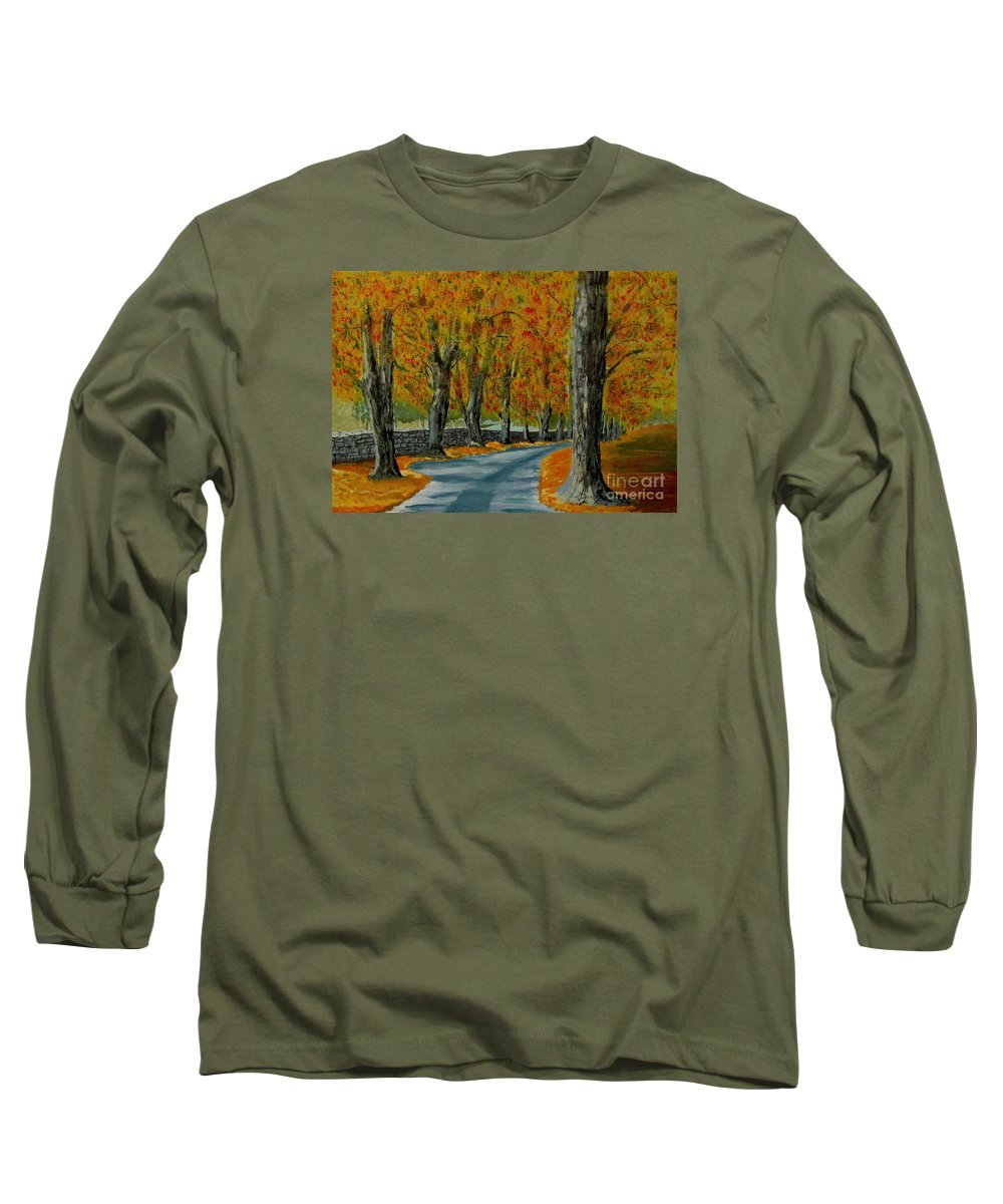 Autumn Long Sleeve T-Shirt featuring the painting Autumn Pathway by Anthony Dunphy