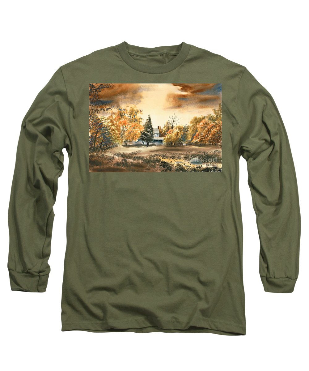 Autumn Sky No W103 Long Sleeve T-Shirt featuring the painting Autumn Sky No W103 by Kip DeVore
