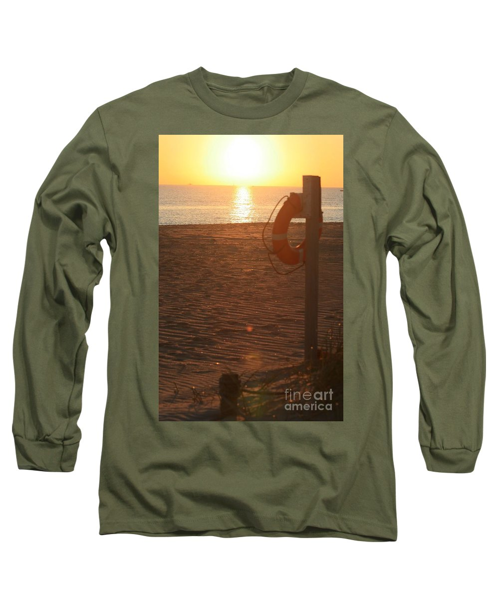 Beach Long Sleeve T-Shirt featuring the photograph Beach At Sunset by Nadine Rippelmeyer