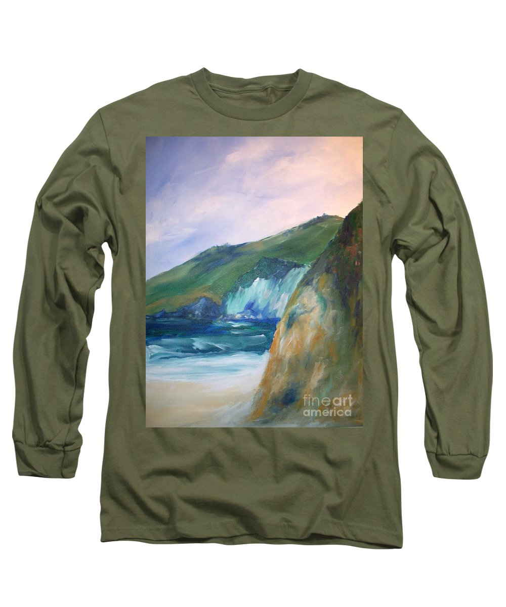 California Coast Long Sleeve T-Shirt featuring the painting Beach California by Eric Schiabor