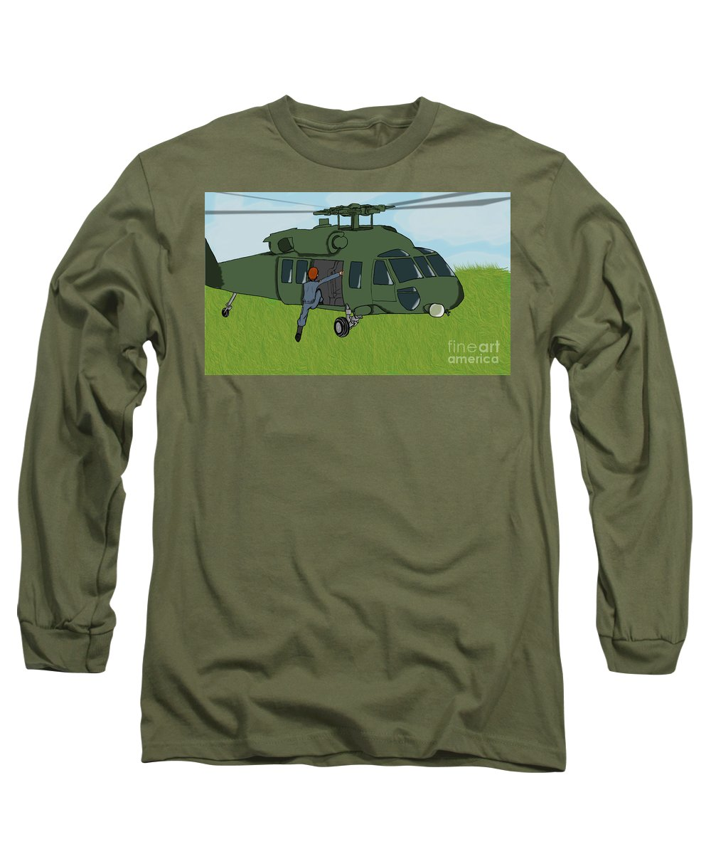 Helicopter Long Sleeve T-Shirt featuring the digital art Boarding A Helicopter by Yael Rosen
