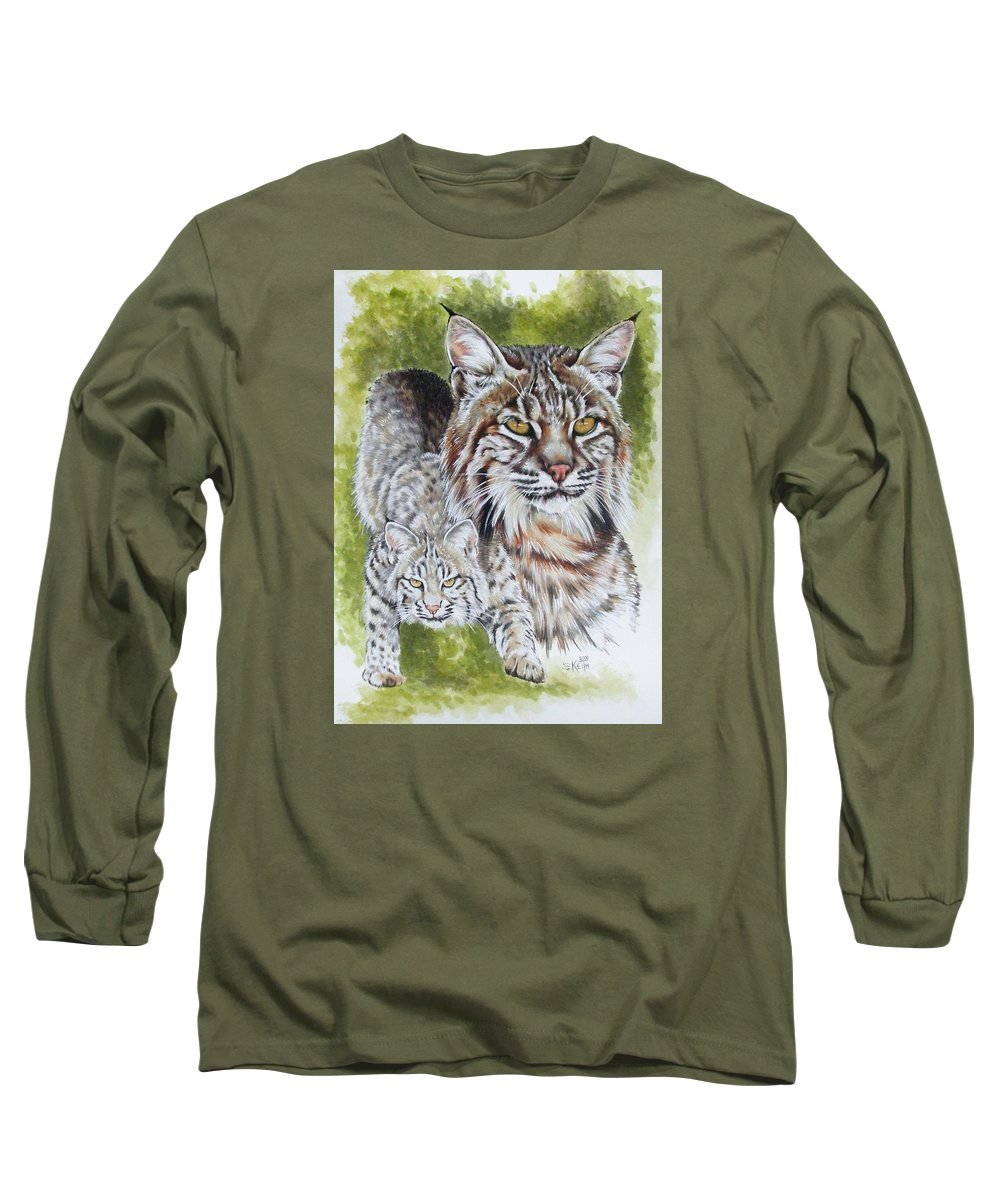 Small Cat Long Sleeve T-Shirt featuring the mixed media Brassy by Barbara Keith