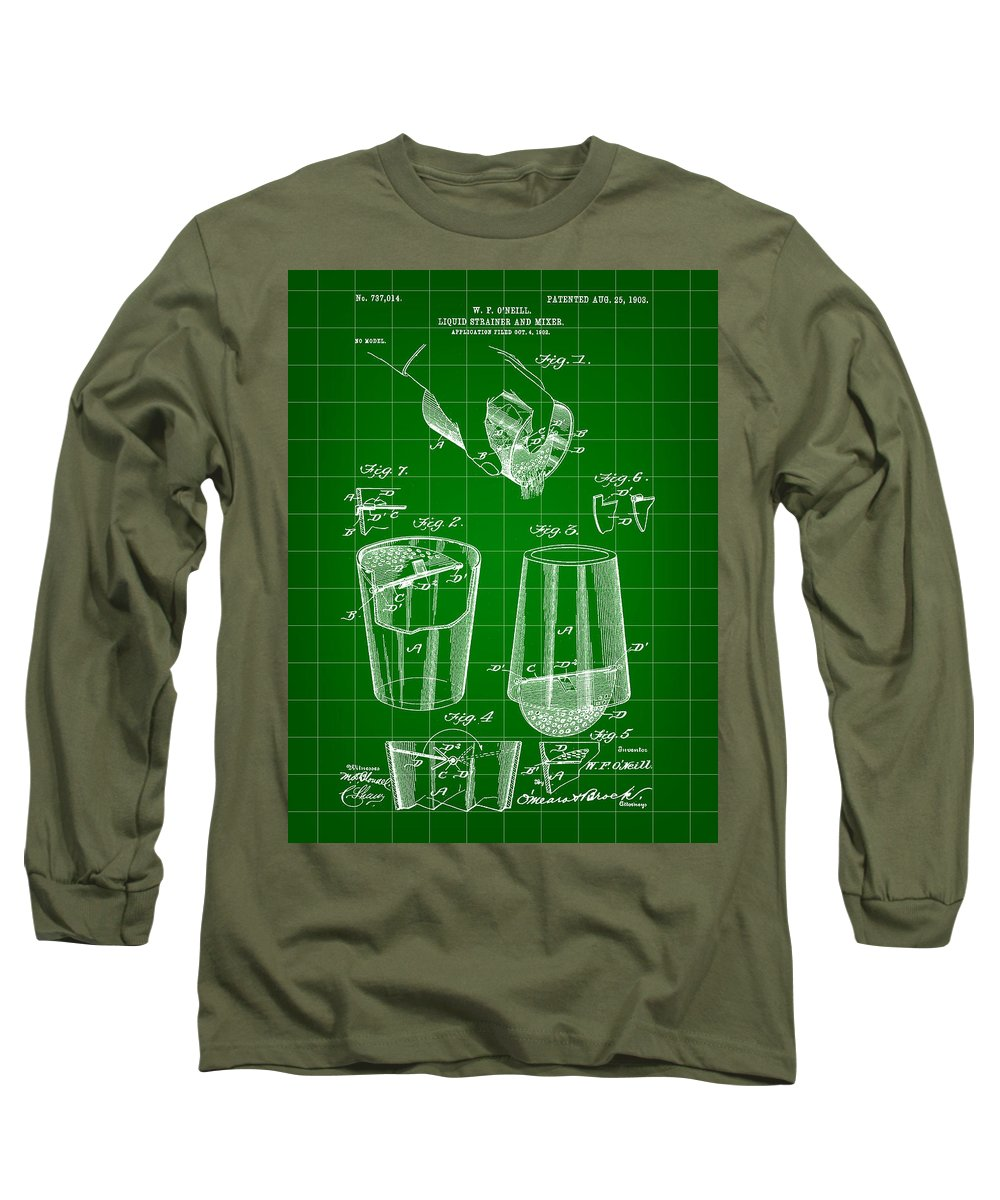 Cocktail Long Sleeve T-Shirt featuring the digital art Cocktail Mixer And Strainer Patent 1902 - Green by Stephen Younts
