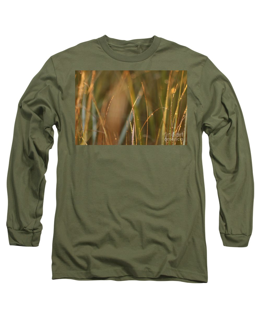 Dew Long Sleeve T-Shirt featuring the photograph Dewy Grasses by Nadine Rippelmeyer