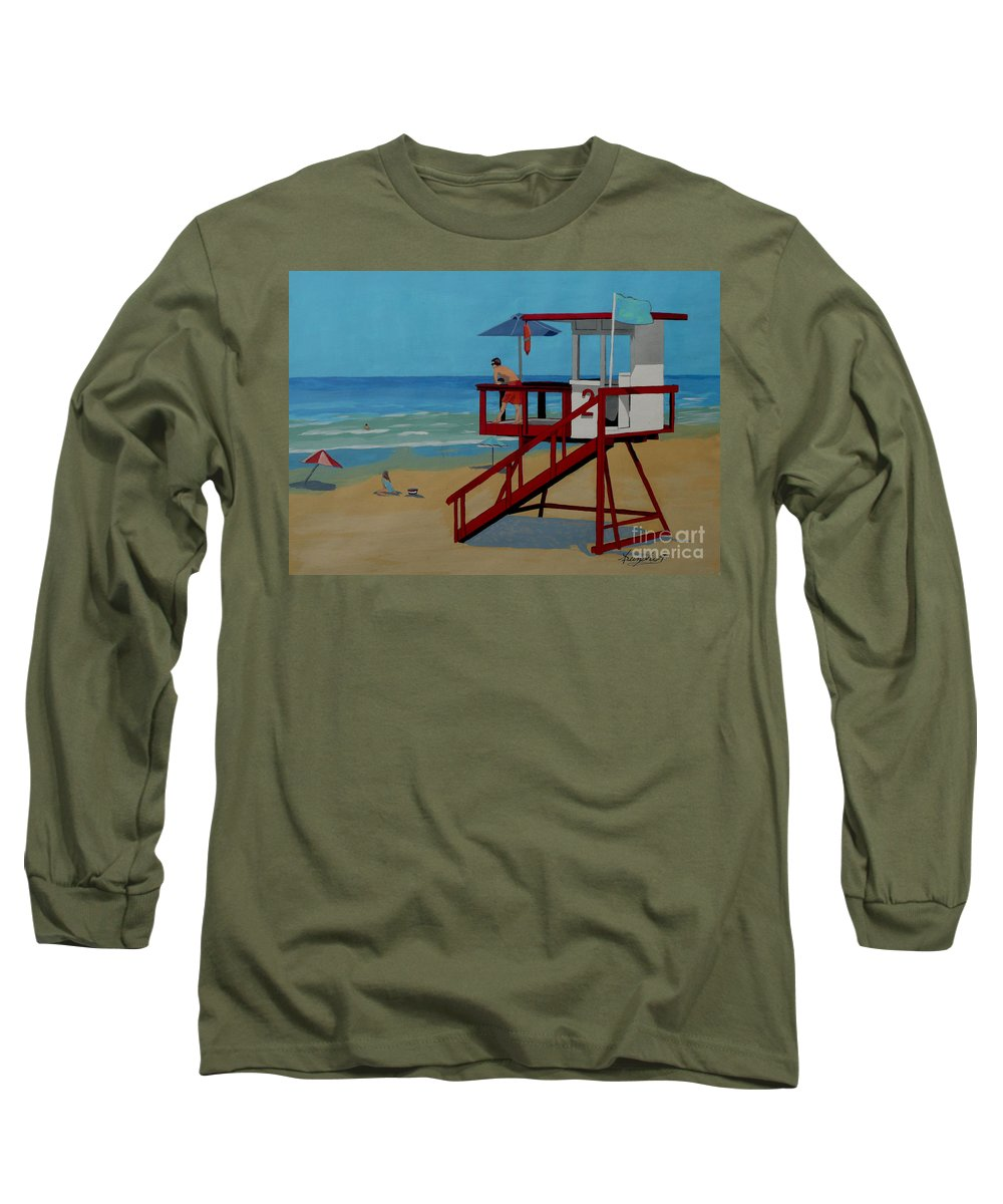 Lifeguard Long Sleeve T-Shirt featuring the painting Distracted Lifeguard by Anthony Dunphy