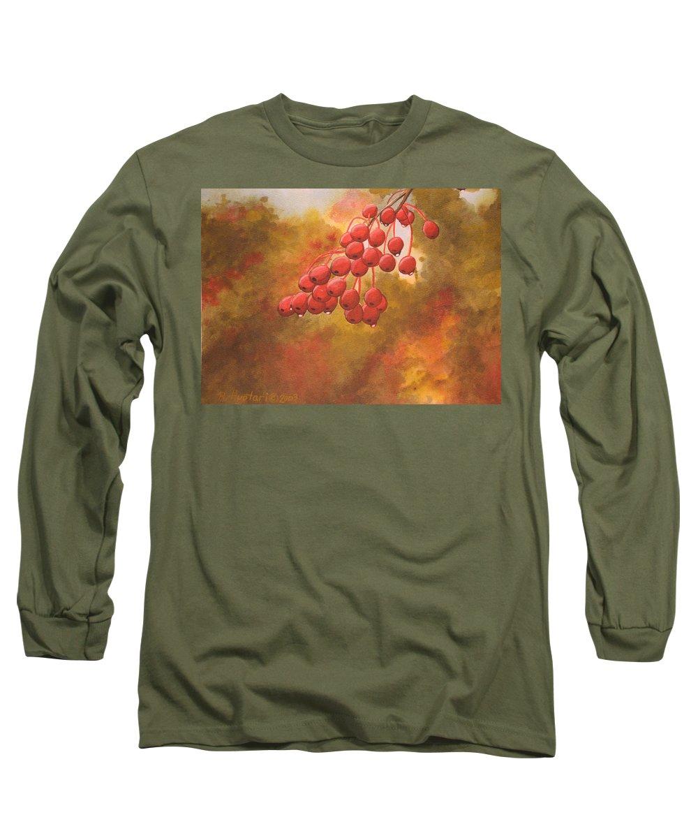 Rick Huotari Long Sleeve T-Shirt featuring the painting Door County Cherries by Rick Huotari