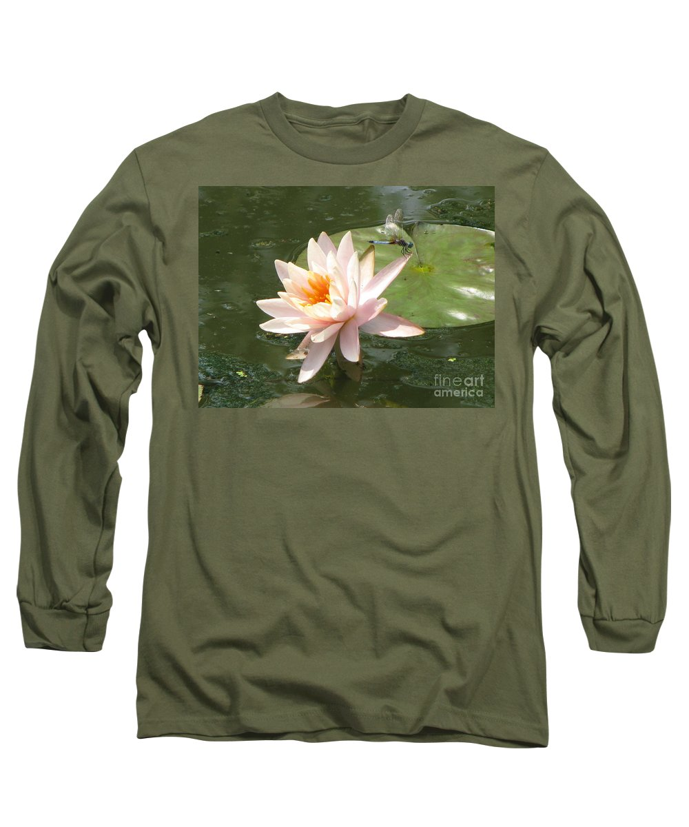 Dragon Fly Long Sleeve T-Shirt featuring the photograph Dragonfly Landing by Amanda Barcon