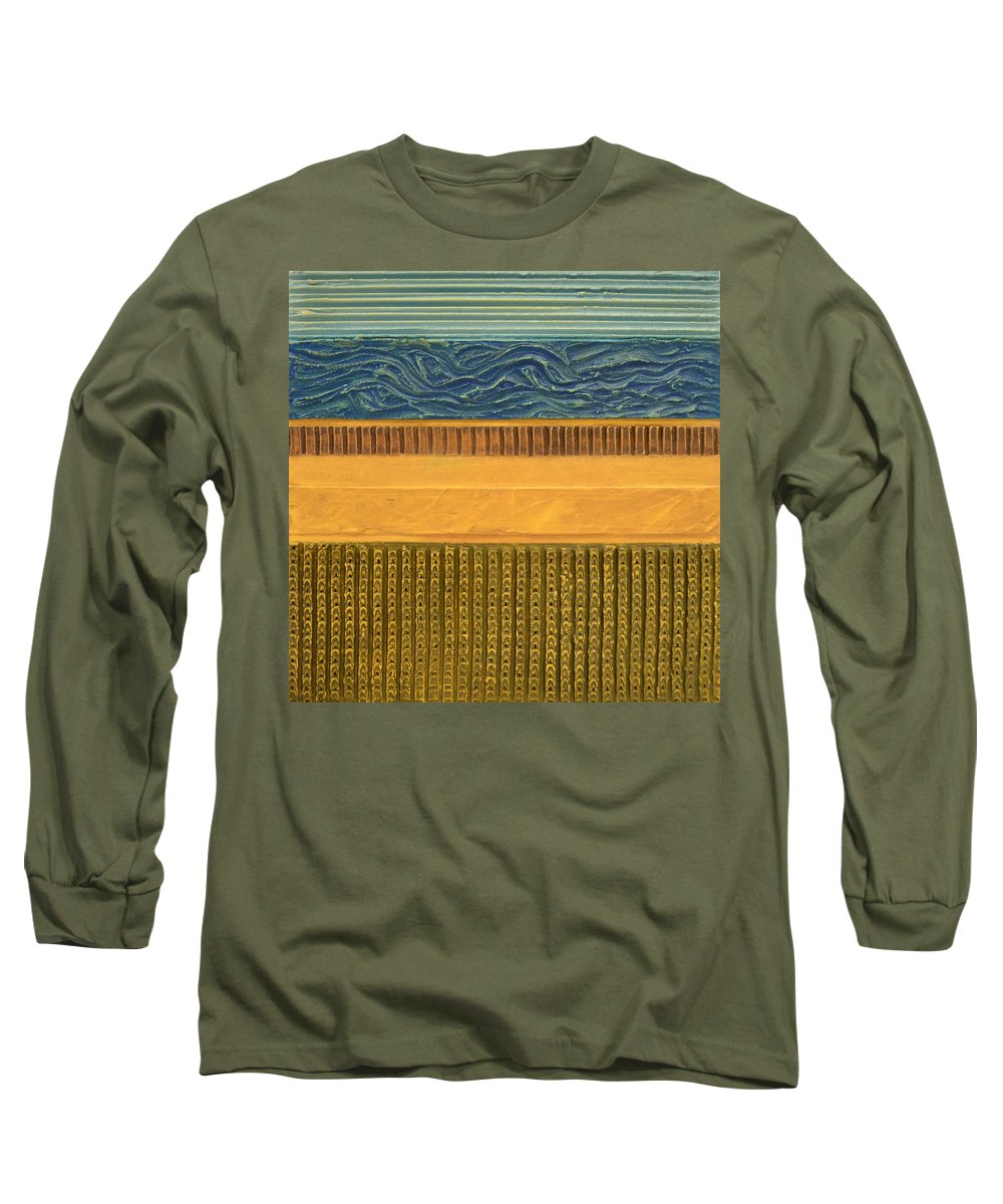 Abstract Long Sleeve T-Shirt featuring the painting Earth Layers Abstract L by Michelle Calkins