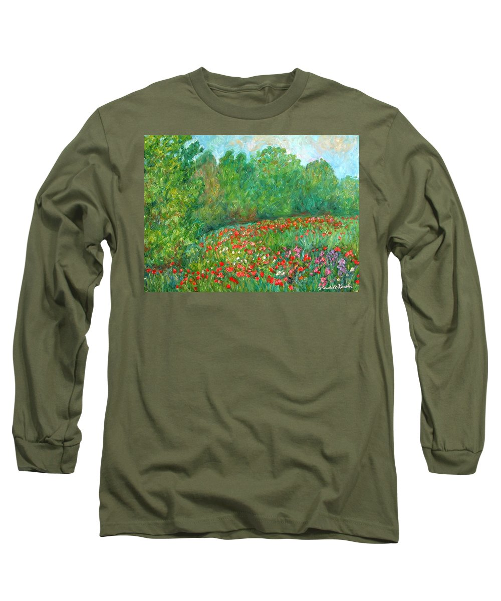 Blue Ridge Paintings Long Sleeve T-Shirt featuring the painting Flower Field by Kendall Kessler