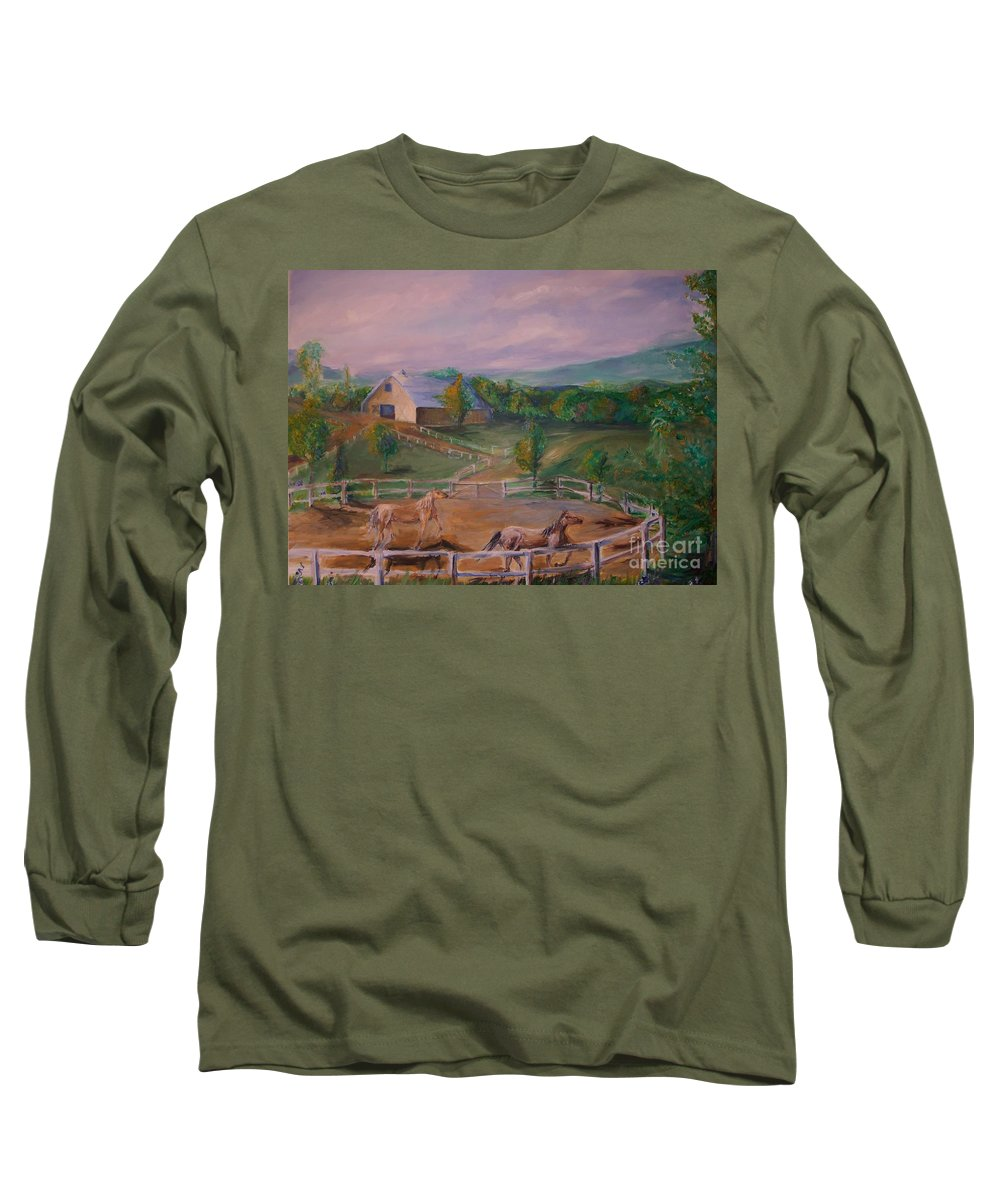 Pennsylvania Long Sleeve T-Shirt featuring the painting Gettysburg Farm by Eric Schiabor