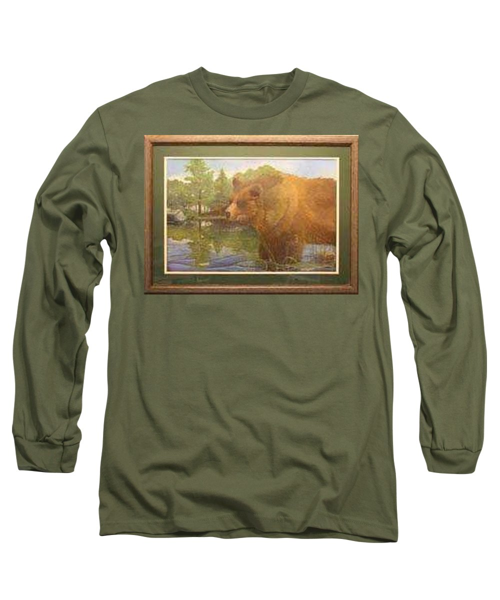Rick Huotari Long Sleeve T-Shirt featuring the painting Grizzly by Rick Huotari