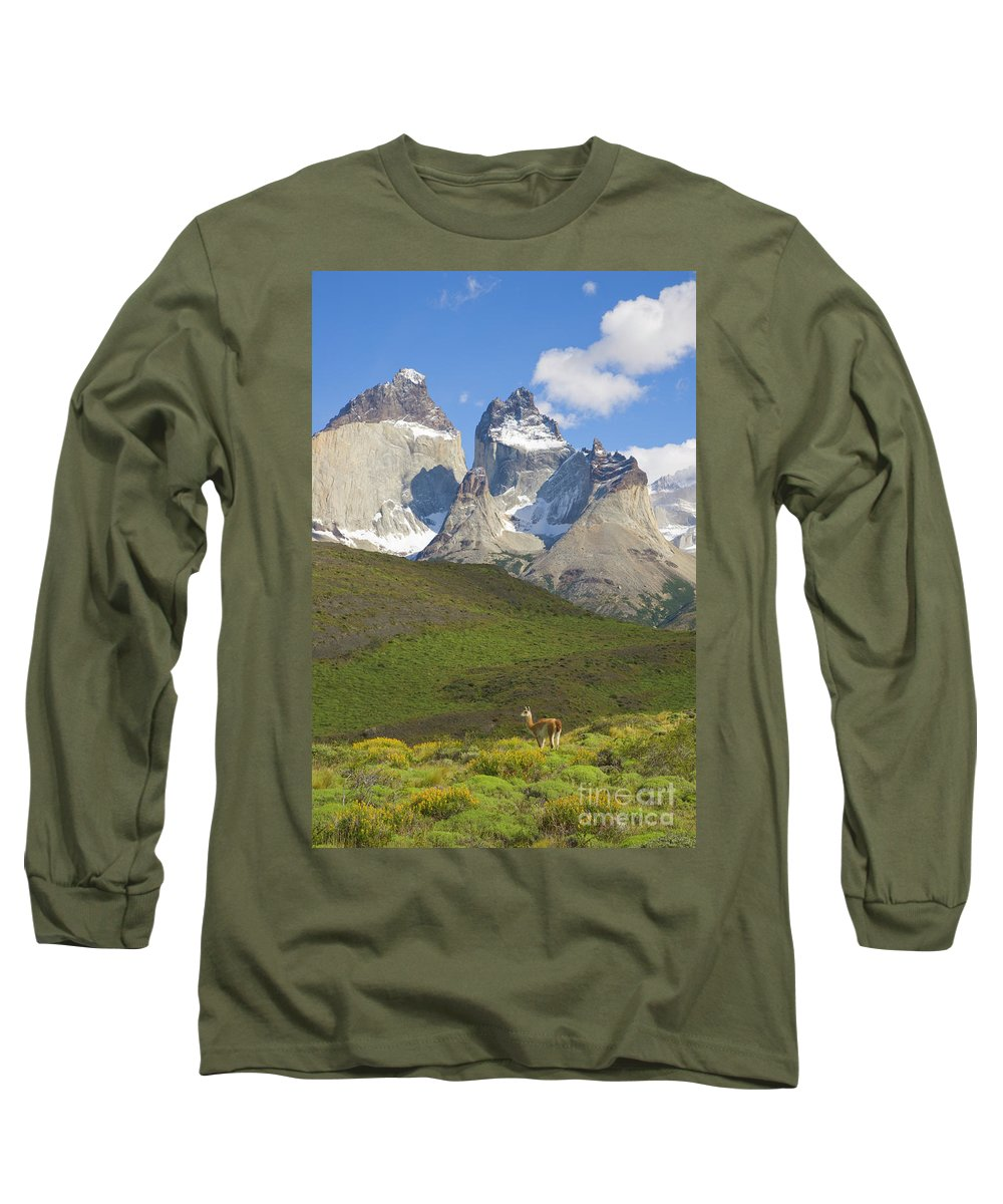 00346032 Long Sleeve T-Shirt featuring the photograph Guanaco And Cuernos Del Paine by Yva Momatiuk John Eastcott