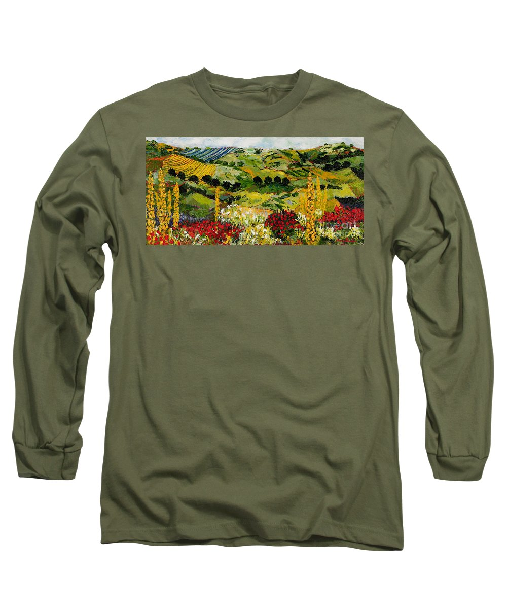 Landscape Long Sleeve T-Shirt featuring the painting Heavenly View by Allan P Friedlander