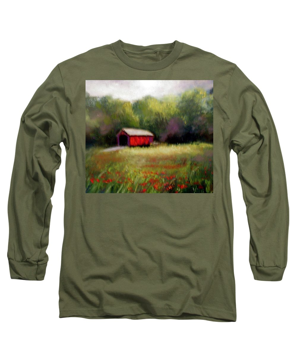 Covered Bridge Long Sleeve T-Shirt featuring the painting Hune Bridge by Gail Kirtz