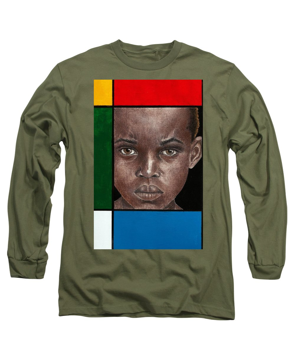 African American Artwork Long Sleeve T-Shirt featuring the mixed media Intense by Edith Peterson-Watson