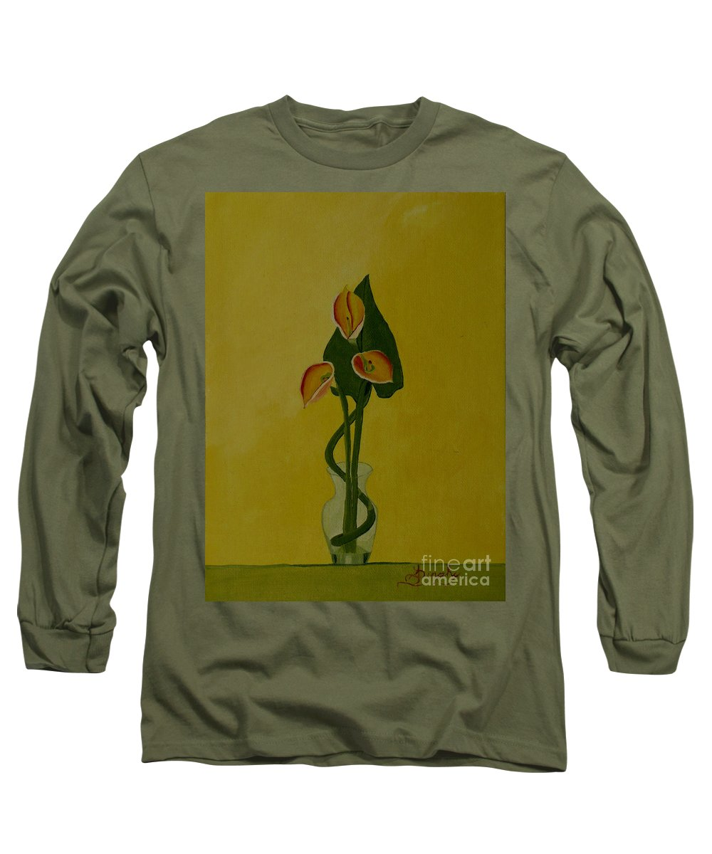 Japan Long Sleeve T-Shirt featuring the painting Japanese Ikebana Arrangement by Anthony Dunphy