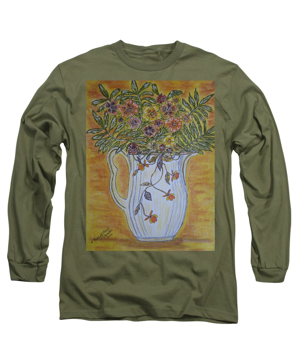 Jewel Tea Long Sleeve T-Shirt featuring the painting Jewel Tea Pitcher With Marigolds by Kathy Marrs Chandler