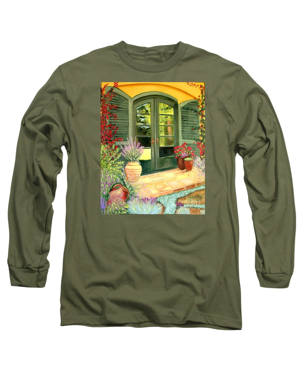 Shutters Long Sleeve T-Shirt featuring the painting Jill's Patio by Laurie Morgan