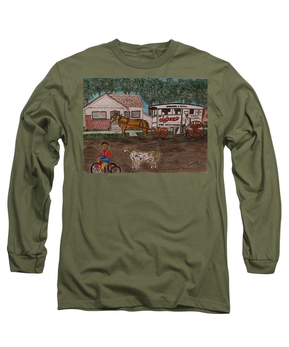 Johnson Creamery Long Sleeve T-Shirt featuring the painting Johnsons Milk Wagon Pulled By A Horse by Kathy Marrs Chandler