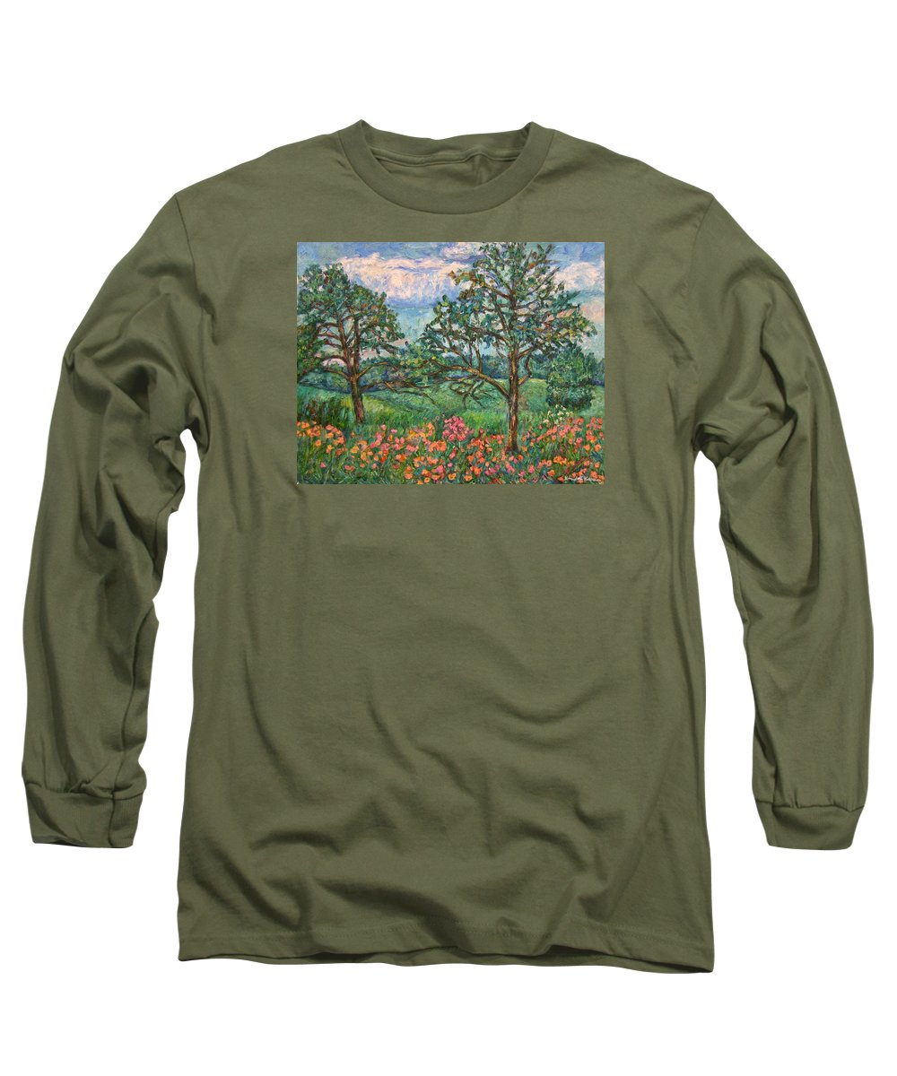 Landscape Long Sleeve T-Shirt featuring the painting Kraft Avenue In Blacksburg by Kendall Kessler