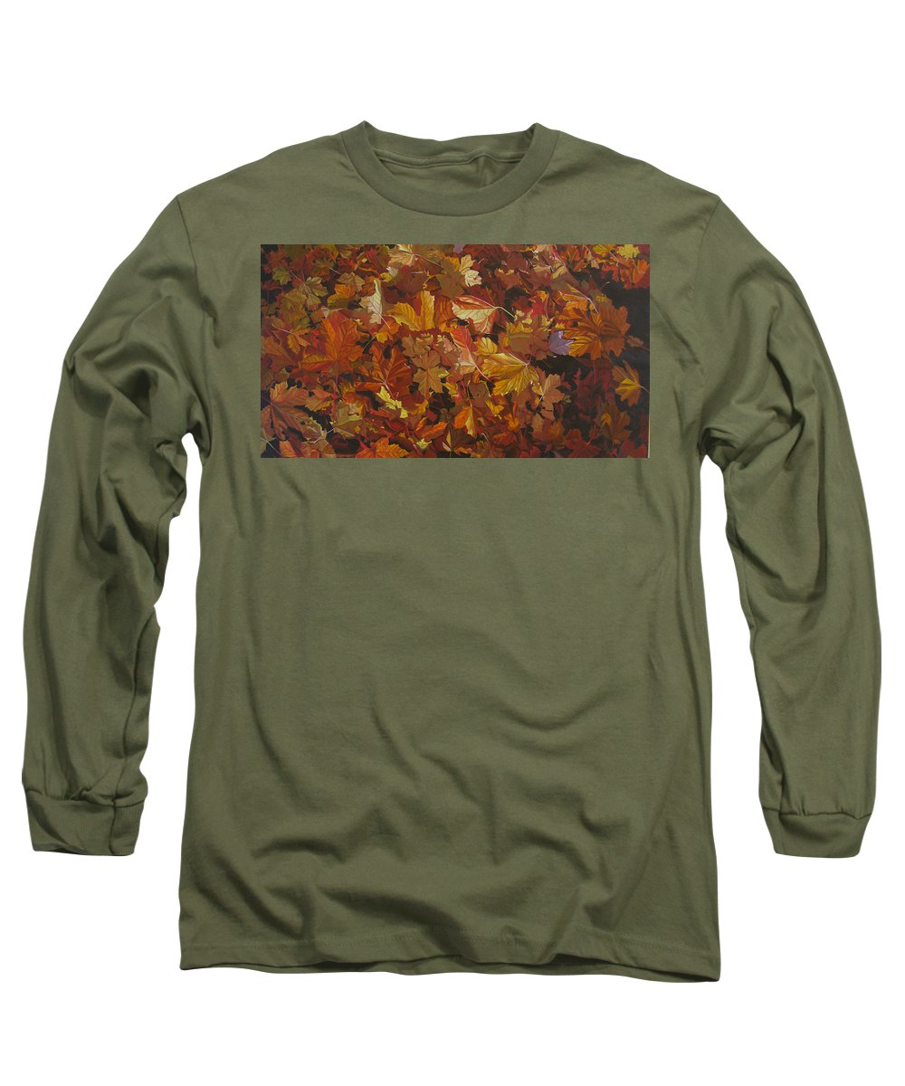 Fall Long Sleeve T-Shirt featuring the painting Last Fall In Monroe by Thu Nguyen
