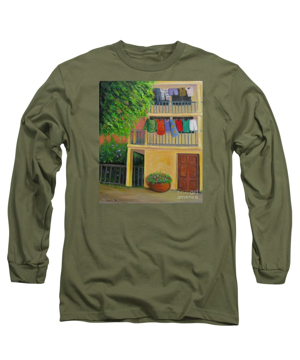 Laundry Long Sleeve T-Shirt featuring the painting Laundry Day by Laurie Morgan