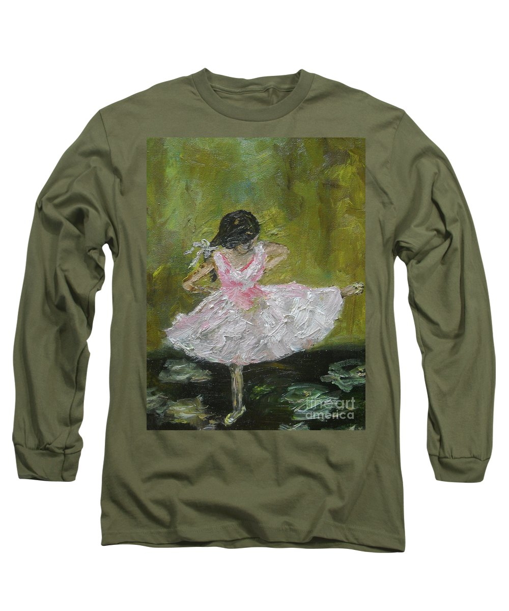 Girl Long Sleeve T-Shirt featuring the painting Little Dansarina by Reina Resto