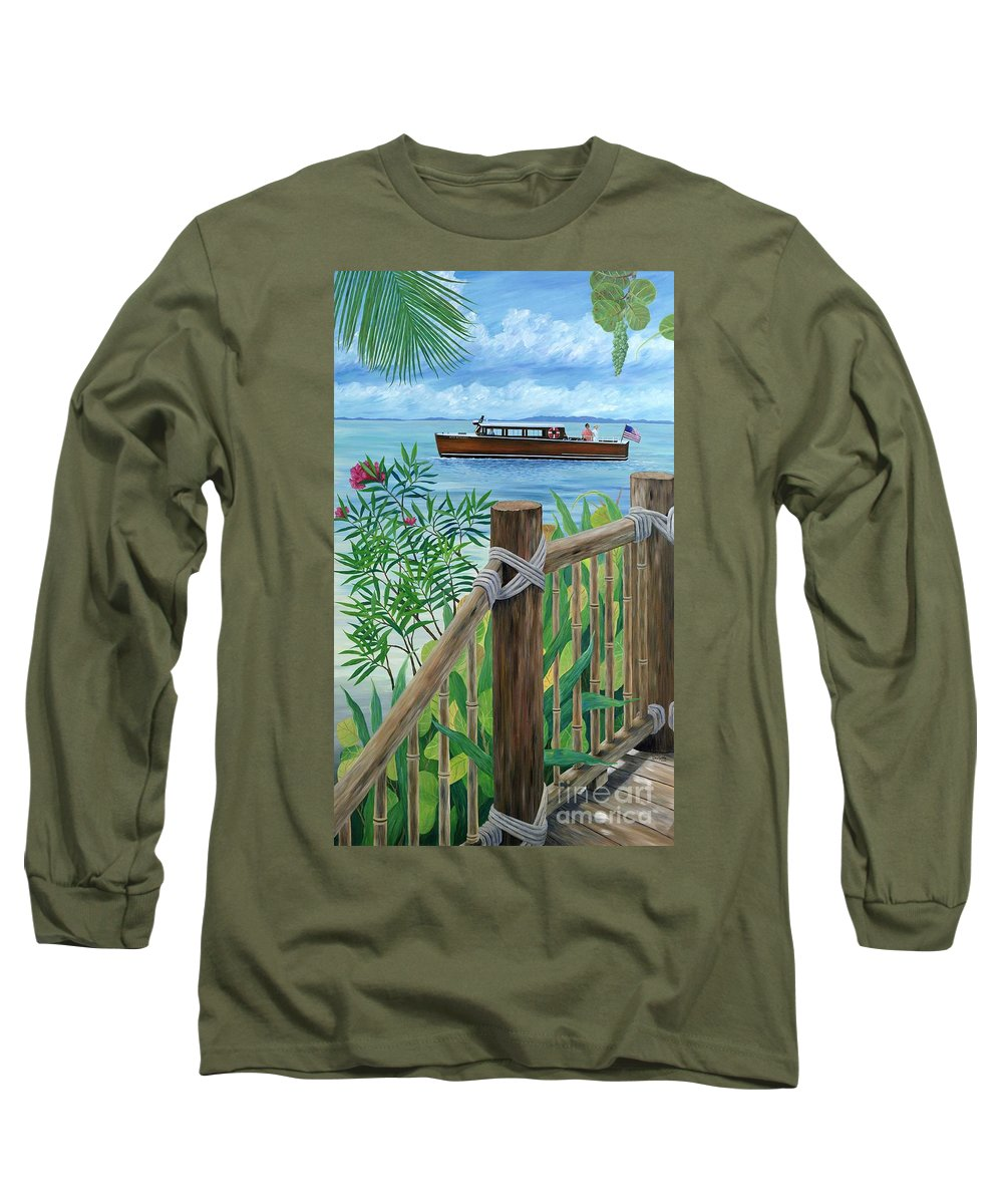 Island Long Sleeve T-Shirt featuring the painting Little Palm Island by Danielle Perry